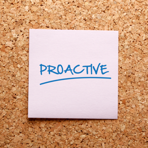 Pink sticky note reading: proactive