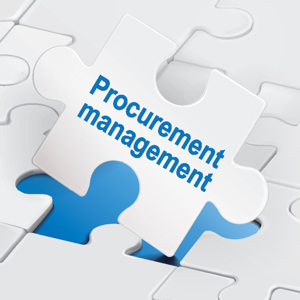 Procurement management on white puzzle pieces background