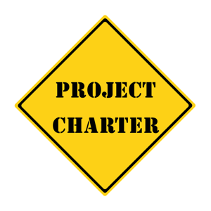 A yellow and black diamond shaped road sign with the words Project Charter
