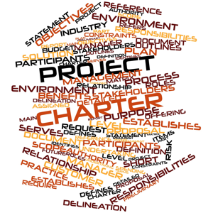 Abstract word cloud for Project Charter