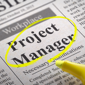 Project manager jobs advert in a newspaper