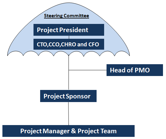 Diagram showing a project president and steering committee