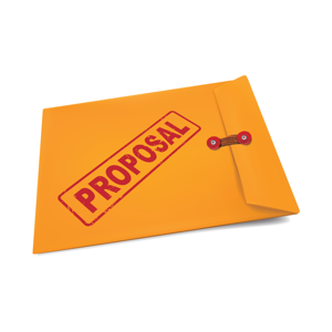 Proposal stamped in red on a manila envelope
