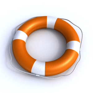 Orange lifebuoy on a white background