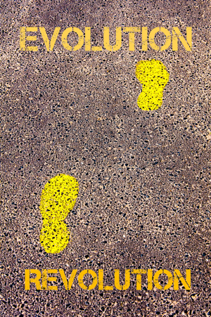 Yellow footsteps on a path from revolution to evolution message