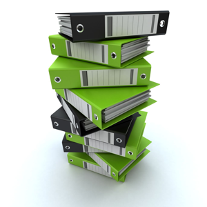 Pile of ring binders in green and black