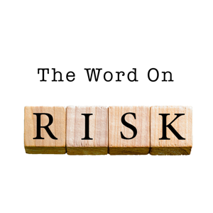 The word risk spelt out in wooden cubes on a white background