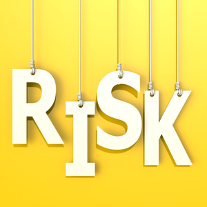 The word risk on an orange background