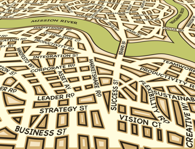 Street map of a city with business street names
