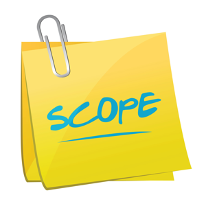 Scope memo sticky note on a white background