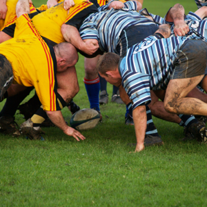 Rugby scrum in a big push