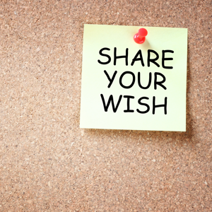 Yellow sticky note reading: Share your wish