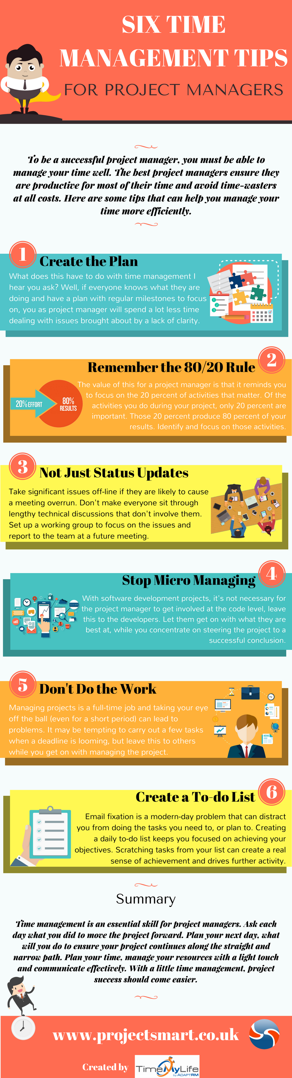 Six Time Management Tips For Project Managers Infographic