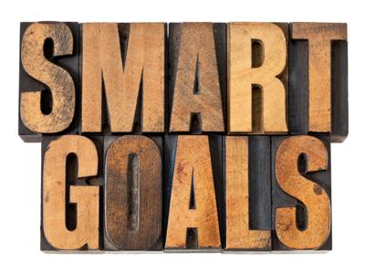 SMART Goals in vintage letterpress wood type