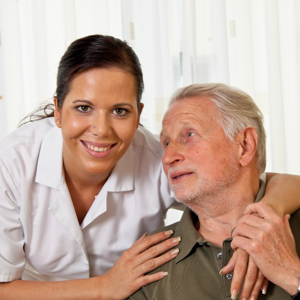 A nurse in elderly care for seniors in nursing homes