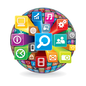 Sphere of various social media and computer icons