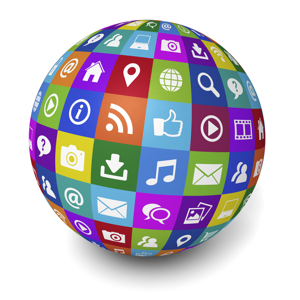 Web and Internet social media concept with technology icons and symbol on a colorful globe