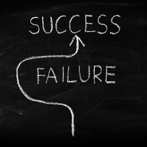 Way to success and avoiding failure concept on a blackboard