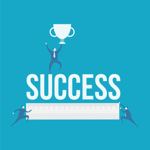 Success concept with ruler and trophy