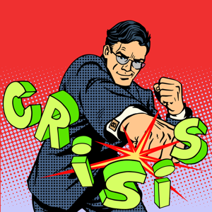 Superhero businessman punching the word crisis