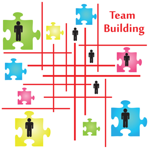 Four jigsaw puzzle pieces on the topic of team building