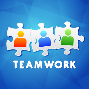 Teamwork and puzzle pieces with people signs on a blue background