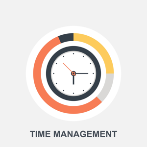 Analogue clock and the words time management