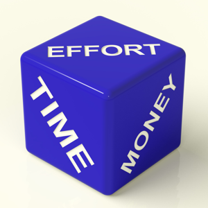 Effort time money blue dice representing the ingredients for business