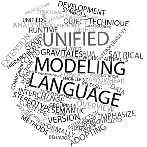 Abstract word cloud for Unified Modeling Language with related tags and terms