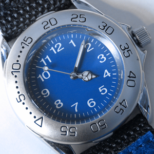 Blue and silver sports wristwatch