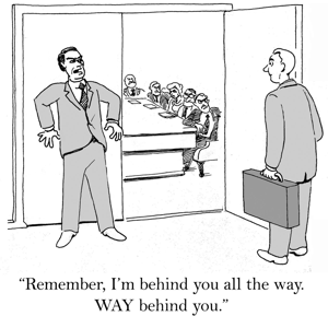 Cartoon of business leader and follower: WAY behind you