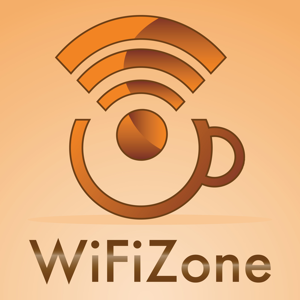 Sign: WiFi zone with a small coffee cup
