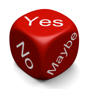 Red dice with: Yes, No and Maybe